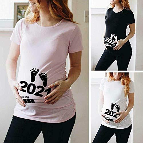 AGAGRG Baby Loading 2021 Bedrucktes schwangeres T-Shirt Mutterschafts-Kurzarm-T-Shirt,White,M