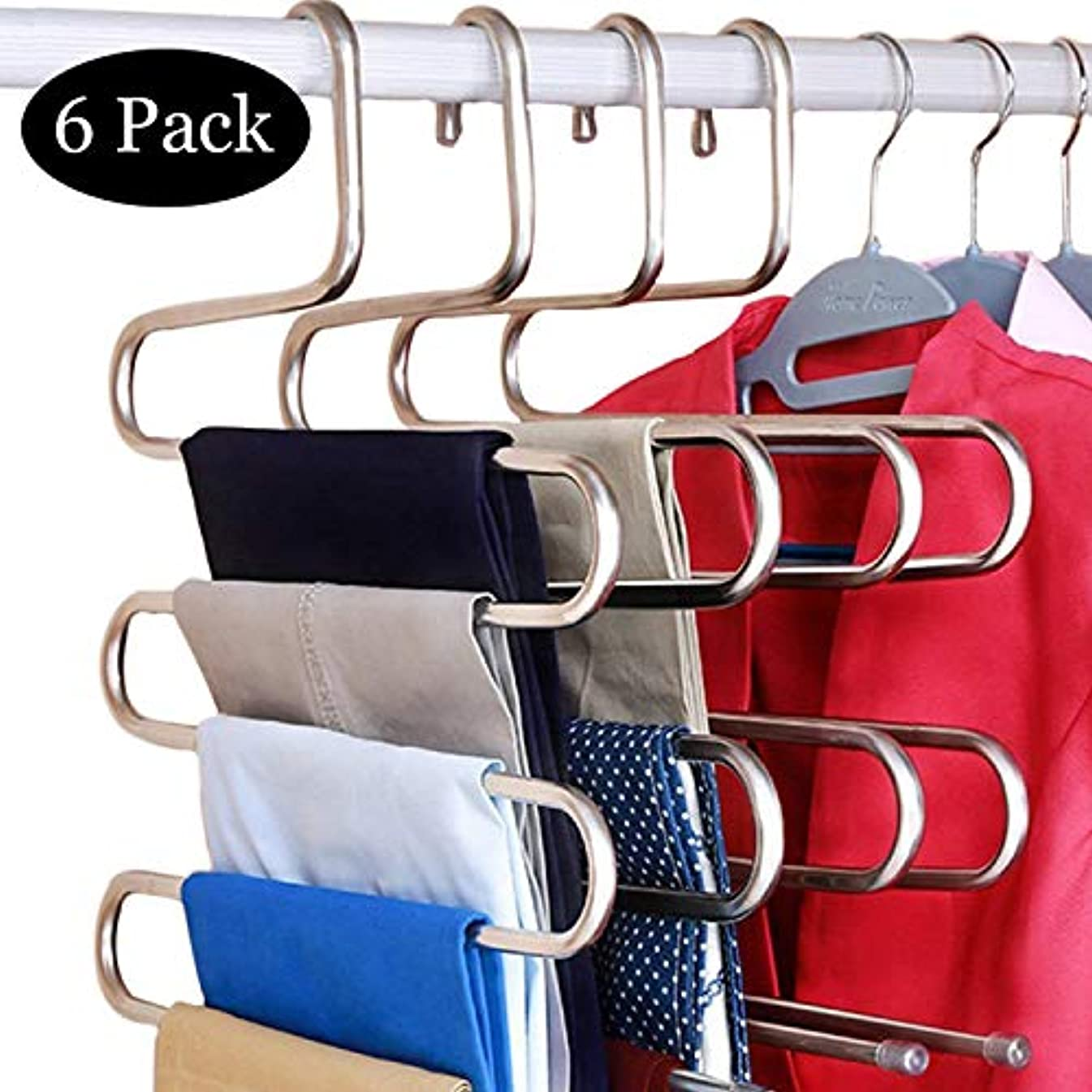 DOIOWN 6 Pack Pants Hangers S-Shape Stainless Steel Clothes Hangers Space Saving Hangers Closet Organizer for Pants Jeans Scarf(5 Layers,6Pcs) (6-Pieces)