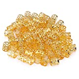 100Pcs Adjustable Dreadlocks Hair Braid Beads Rings Cuffs Wig Accessories Hair Decoration Tool Hair Beads For Braids Styling (Gold)