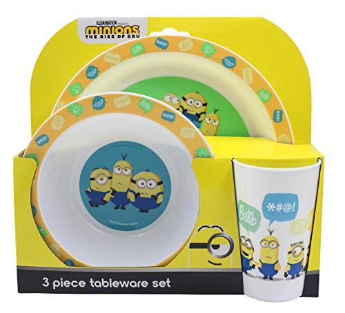 Polar Gear Minions - Juego de vajilla reutilizable de polipropileno (3 piezas, para niños, con tazón, vaso, material ligero, reciclable