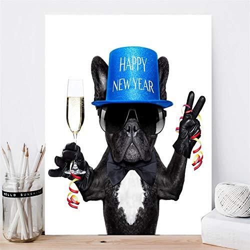 TYLPK Leinwanddruck Lustiger Hund Frohes Neues Jahr Nordic Dekorative Wandkunst Poster Wohnzimmer Dekorative Malerei A1 30x40cm