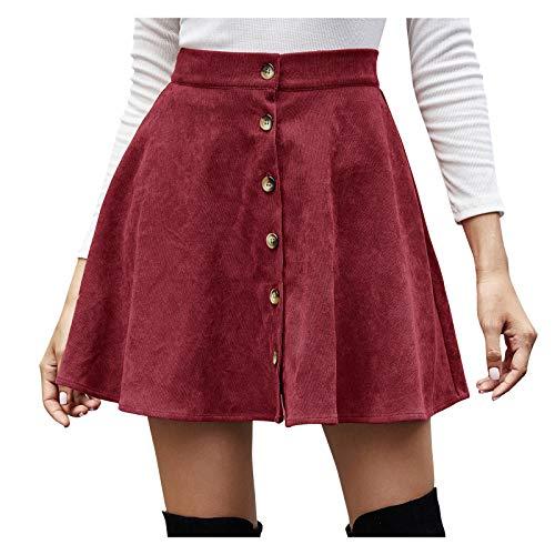 Damen Vintage Minikleid Minirock Streetwear Retro Cord Rock mit Tasten KIMODO Einfarbig Hohe Taille A-line Warm und Schlank Halten Kleider Skirt (Wein, S)