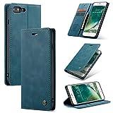 AKC Funda Compatible para iPhone 7Plus/8Plus Carcasa con Flip Case Cover Cuero Magnético Plegable Carter Soporte Prueba de Golpes Caso-Azul