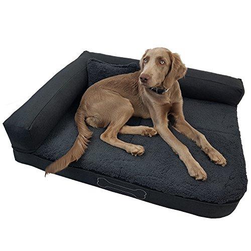 DILUMA Luxus Hundebett Valetta mit Kissen Größe M 100x80 cm für mittelgroße Hunde - orthopädisches Hundesofa mit abnehmbaren Bezug und Antirutschbeschichtung