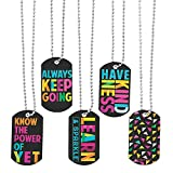 Fun Express Confetti Dog Tag Necklaces - 12 Pieces - Educational and Learning Activities for Kids