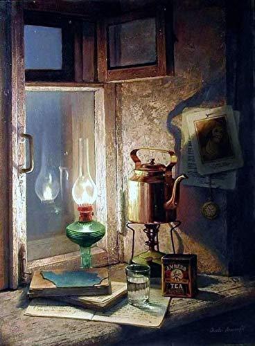DIY Pintura por Números,Lámpara de queroseno Sill Kettle Niños Seniors Junior PinturaDIY Conjunto Completo de Pinturas Pinturas para la Decoración del Hogar 40cmX50cm(Sin Marco).