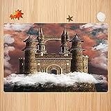 Alfombra de baño Antideslizante,Decoración Medieval, Castillo mágico de Hadas en la Colina, Cuentos de la Edad Media, Hechos Inus Apto para Cocina, salón, Ducha (50x80 cm)