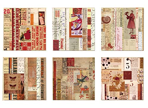 Layhome 12 Stück Papier Aufkleber Retro Scrapbooking Stempeln Home Decor 16 x 16 cm s Arbeitsspeicher.