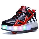 Unisex Enfants LED Clignotante Chaussures à Skates avec roulettes Doubles Bouton Poussoir Ajustable lnline Patins à roulettes Course à Pied Sneakers pour Garçons Filles (30 EU, 8085-Noir Rouge 04)