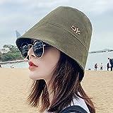 Sombrero De Playa para Nuevo Sombrero De Cubo De Tapa Plana De Color Sólido Bordado De Moda Ok Sombreros De Sol De Algodón Plegable Anti-UV Gorra De Visera De Viaje Al Aire Li