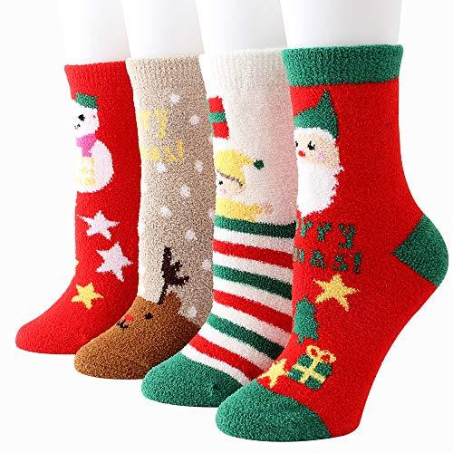 Puimentiua 3/4/6/8 Pares Calcetines de Navidad Calcetines de Lana Casuales Unisex para Regalo de Fiesta Navidad