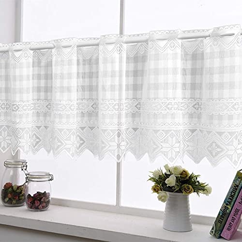 White Lace Valances for Window Flower Embroidered Valence Kitchen Semi Sheer Short Curtain Pocket Rod for Bedroom Living Room,1 Panel 17 by 59 inch