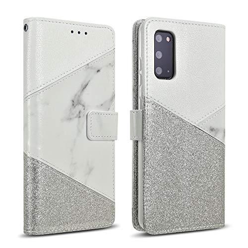 ZCDAYE Hülle für Samsung Galaxy A52 Handyhülle,Glitter Handytasche [Magnetverschluss] PU Leder [Keramisches Muster][Kartenfächer] Weiches TPU Flip Hülle Schutzhülle Samsung Galaxy A52-Weiß