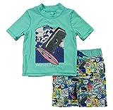 Skechers Boys' Little Swimsuit Bathingsuit Set with Swim Shirt & Trunks, Aqua Comic Strip, 4