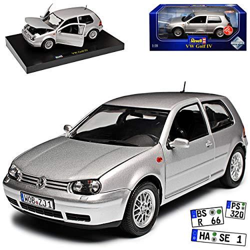 Volkwagen Golf IV 4 3 Türer Silber 1997-2003 1/18 Revell Modell Auto mit individiuellem Wunschkennzeichen