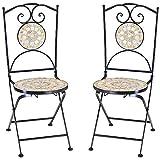 Deuba Set de 2 Sillas Mosaico »Bilbao« Asiento de cerámica Plegables 36x45x94cm para balcón jardín terraza Patio