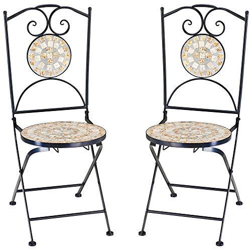Deuba Mosaikstühle Bilbao 2er Set Klappbar Sitzhöhe 45cm Metall Stabil Gartenstuhl Klappstuhl Balkonstühle