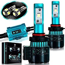 Glowteck LED Headlight Bulbs Conversion Kit – 9005(HB3) CREE XHP50 Chip 12000 Lumen/Pair 6K Extremely Bright 68w Cool White 6500K For Bright & Greater Visibility 2 Year Warranty