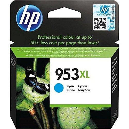 HP 953XL Cyan Original Ink Cartridge 20ml 1600páginas Cian cartucho de tinta - Cartucho de tinta para impresoras (HP, Cian, OfficeJet Pro 8210 OfficeJet Pro 8218 OfficeJet Pro 8710 AiO OfficeJet Pro 8715 AiO OfficeJet Pro..., High (XL) Yield, 20 ml, 1600 páginas)