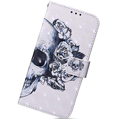 Herbests Kompatibel mit Huawei P30 Pro Handy Hülle Lederhülle Handytasche Bling 3D Bunt Glitzer Muster Flip Hülle Cover Leder Tasche Bookstyle Wallet Klapphülle,Totenkopf Weiß Blume