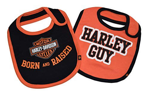 Harley-Davidson Baby Boys' Bibs, Bar & Shield 2 Pack, Black/Orange 7059507