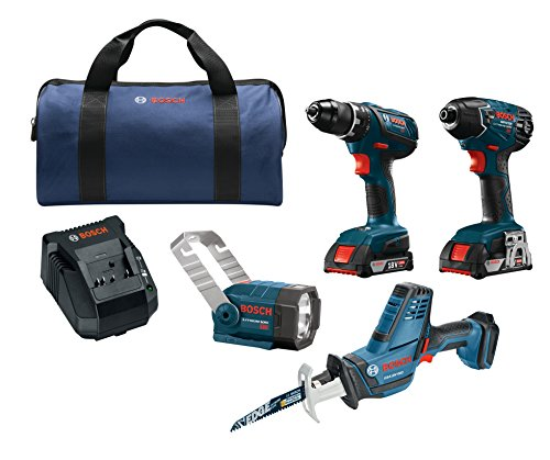 Bosch Power Tools Drill Set  CLPK232A181  18V 4Tool Combo Kit with 1/2 In Drill/Driver 1/4 In Hex Impact Driver Compact Reciprocating Saw and Flashlight