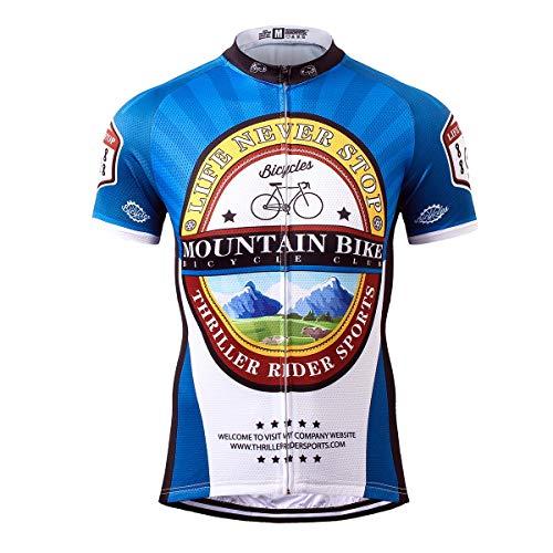 Thriller Rider Sports Uomo Mountain Bike Club Sport e Tempo Libero Abbigliamento Ciclismo Magliette Manica Corta X-Large