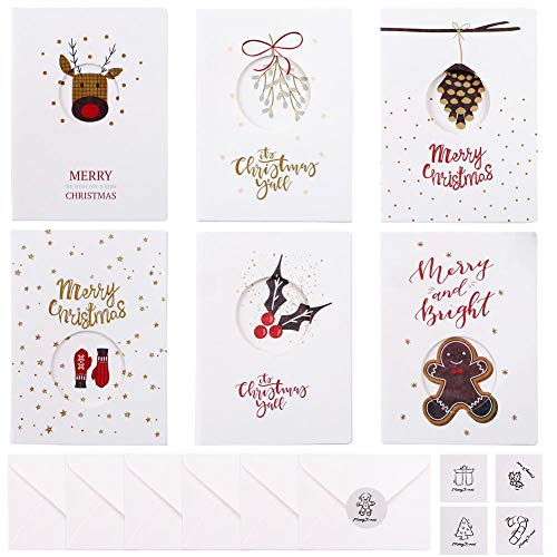24 Pezzi Cartoline di Natale con Buste e Adesivi, Regali Natale Decorazioni, 6 Disegni Diversi (bianco) Kit 24pz Babbo Natale Biglietti di Auguri Natalizi Merry Christmas