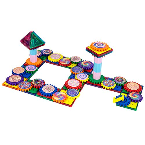 PicassoTiles 101 Master Builder Magnetic Building Block Toy Set Construction Magnet Tile Blocks Education Toys with 22 Optical Illusion Spinning Disk, 27 Gear Wheels and Engineering Columns PTW101