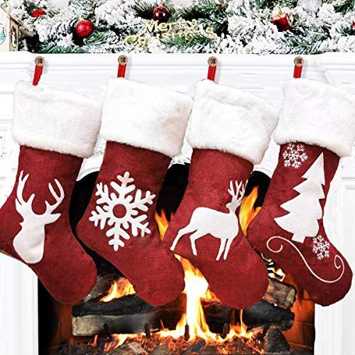 Dremisland Große Weihnachtsstrumpfe 4er Set, 46cm Roten Weihnachtsstrümpfen Rentier Plüsch Kunstpelz Manschette Klassische Hängende Strümpfe Beutel für Familienfeiertage Weihnachtsfeier Dekoration