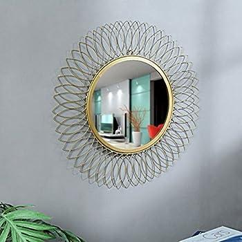 GIG Handicrafts Metal Wall Mirror (Gold_59 X 59 Cm)