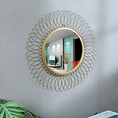 GIG Decorative Wall Mounted Hanging Mirror Sculpture Metal Glass Leaf Design Modern Art Gifts Home Decor (60 x 60 cm)