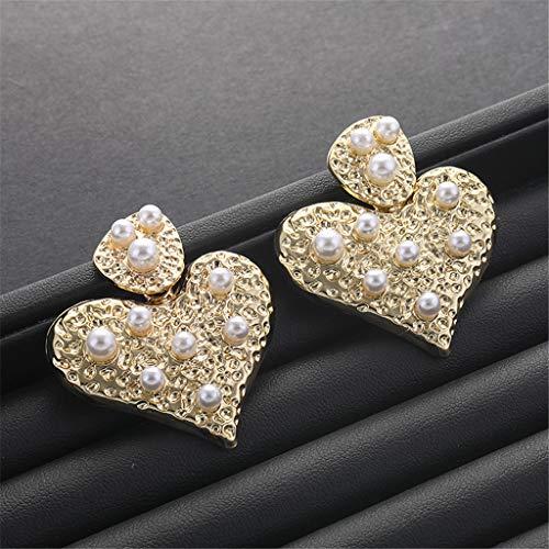 Janly - Pendientes colgantes para mujer, diseño de corazón y perlas doradas, para el día de San Valentín, color, talla L