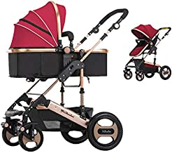 Ybl Infant Baby Stroller Cynebaby Convertible Bassinet Stroller Compact Single Baby Carriage Toddler Seat Stroller For Newborn And Toddler, Wine Red Color