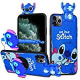 HikerClub iPhone SE 2020/7 / 8 Case Stitch 3D Cartoon Case with Pop Out Phone Stand Grip Holder and Detachable Long Lanyard Neck Strap Band Soft Lovely Case for Children (Blue,iPhone SE 2020/7/8)