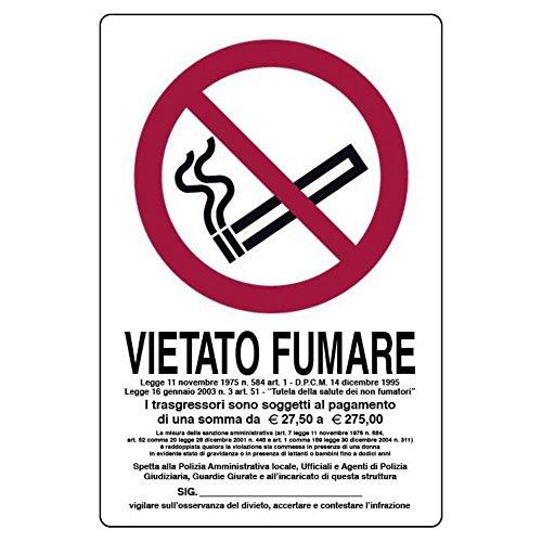 Cartello Vietato fumare i trasgressori sono soggetti al pagamento 18x12 cm