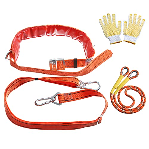 Safety Belt with Adjustable Lanyard,Climbing Harness Safe Belt Tree Climbing Perfect Personal Fall Protection Fall Arrest Kit Electrician Harness (Orange), with Climbing Rope 3ft and Sports Gloves