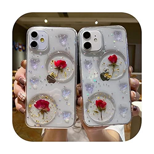 Lujo DIY rosa flor claro teléfono caso para iPhone 12 11 Pro Max XS Max XR X 6 6S 7 8 Plus SE suave silicona cubierta vidrio templado para iphone 6 6s