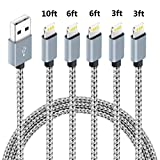 5Pack (3ft,3ft,6ft,6ft,10ft) Nylon Braided Charging Cord Charger Compatible with PhoneX/8/8Plus 7/7 Plus/6s/6s Plus/6/6 Plus/5s/55se,Pad,Pod-Grey