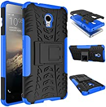 Case Lenovo VIBE P1 360° Full Body PC 2 in 1[with Tempered Glass Screen Protector 2 pieces high quality] Shockproof Double Protection Phone Cover Protective Skin Case for Lenovo VIBE P1 (Blue)