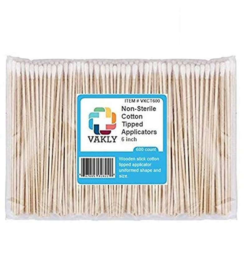 Vakly Non-Sterile 6'' Cotton Tipped Applicators (600 Pack)