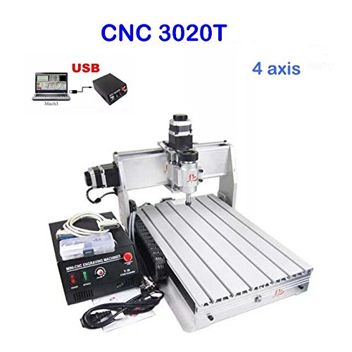 CNC Router Machine Engraving Machine CNC Milling Machine 3020Z 4 Rotary Axis Drilling Desktop Large 3D Engraving (3020Z (30x20cm) 4 Axis)