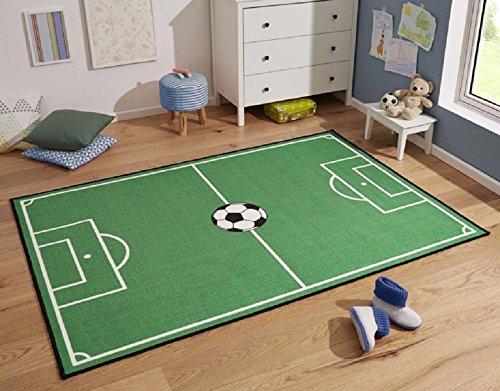 Fussball Teppich Fussballteppich Fussballplatz Spielfeld Fussballfeld Teppich Rasenplatz Kinderteppich Spielteppich für jeden Fussballfan ideal auch für den Hobbykeller (140 x 200 cm)