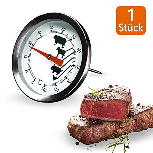 Thermometer Fleischthermometer Bratenthermometer mit dem Einstechfühler Grill Temperaturfühler mit dem Messbereich von 0°C bis 120°C für Steak Lamm Schwein Rind Kalb und Geflügel