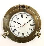 Reloj de pared náutico antiguo de latón marino con diseño de ojo de buque, para decoración del hogar