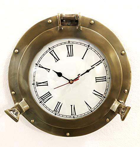Reloj de pared náutico de latón antiguo de 29,2 cm para decoración del hogar