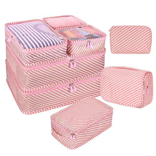 DIMJ トラベルポーチ アレンジケース 8点セット 軽量 大容量 旅行 出張 衣類収納 スーツケース整理 靴入れ 洗面用具入れ PC周辺小物用ポーチ (ピンクの縞)