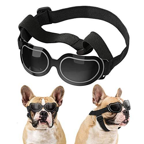 Lewondr Gafas de Sol Reflectantes Geniales para Mascotas, Anteojos Anti-Ultravioleta Niebla y Polvo con Correa Ajustable, Gafas Protectoras para Perros Pequeños para Fiesta Playa Viajar, Negro