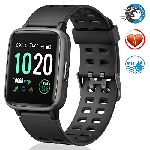 FITFORT FITFORT Smartwatch,Fitness Watch Uhr Voller Touch Screen Fitness Uhr IP68 Wasserdicht Fitness Tracker Sportuhr mit Schrittzähler Pulsuhren Stoppuhr für Damen Herren Smart Watch für iOS Android Handy