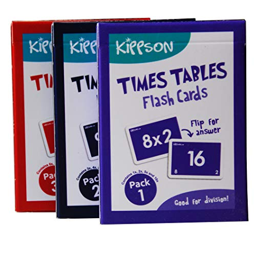 Kippson Times Tables Flash Cards - Multiplication and Division 2-in-1 set of 144